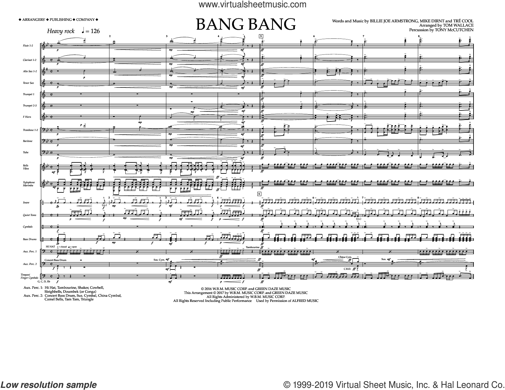 Bang Bang (COMPLETE) sheet music for marching band by Green Day, Billie Joe Armstrong, Mike Dirnt, Tom Wallace and Tre Cool, intermediate skill level