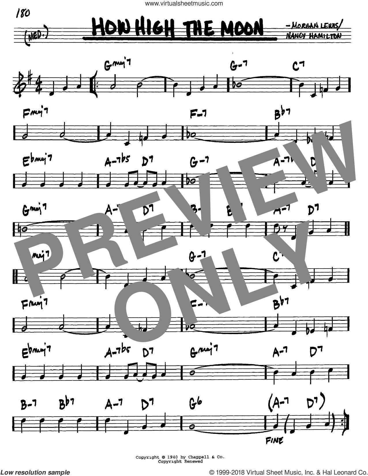 How High The Moon sheet music for voice and other instruments (C) by Les Paul, Morgan Lewis and Nancy Hamilton. Score Image Preview.