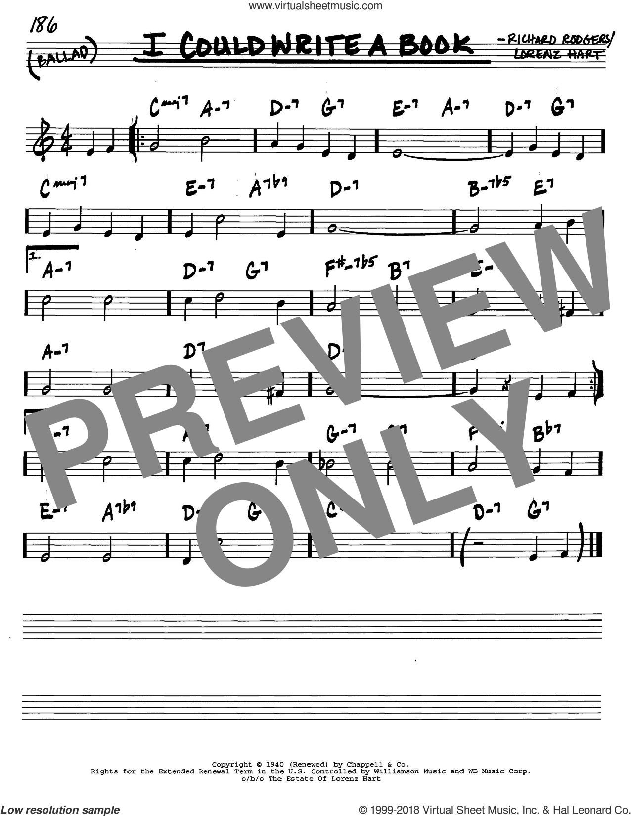 I Could Write A Book sheet music for voice and other instruments (C) by Rodgers & Hart, Lorenz Hart and Richard Rodgers, intermediate voice. Score Image Preview.