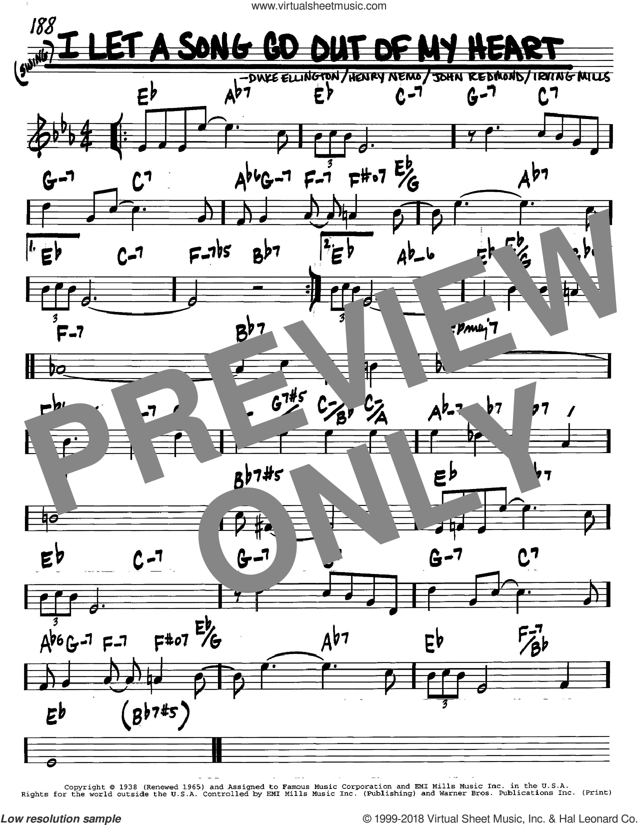 I Let A Song Go Out Of My Heart sheet music for voice and other instruments (in C) by Duke Ellington, Henry Nemo, Irving Mills and John Redmond, intermediate skill level