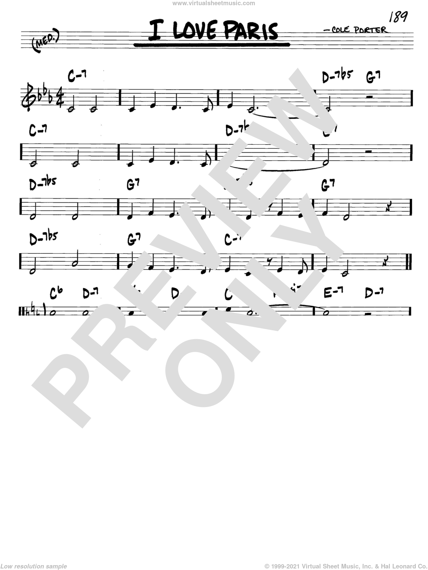 I Love Paris sheet music for voice and other instruments (C) by Cole Porter. Score Image Preview.