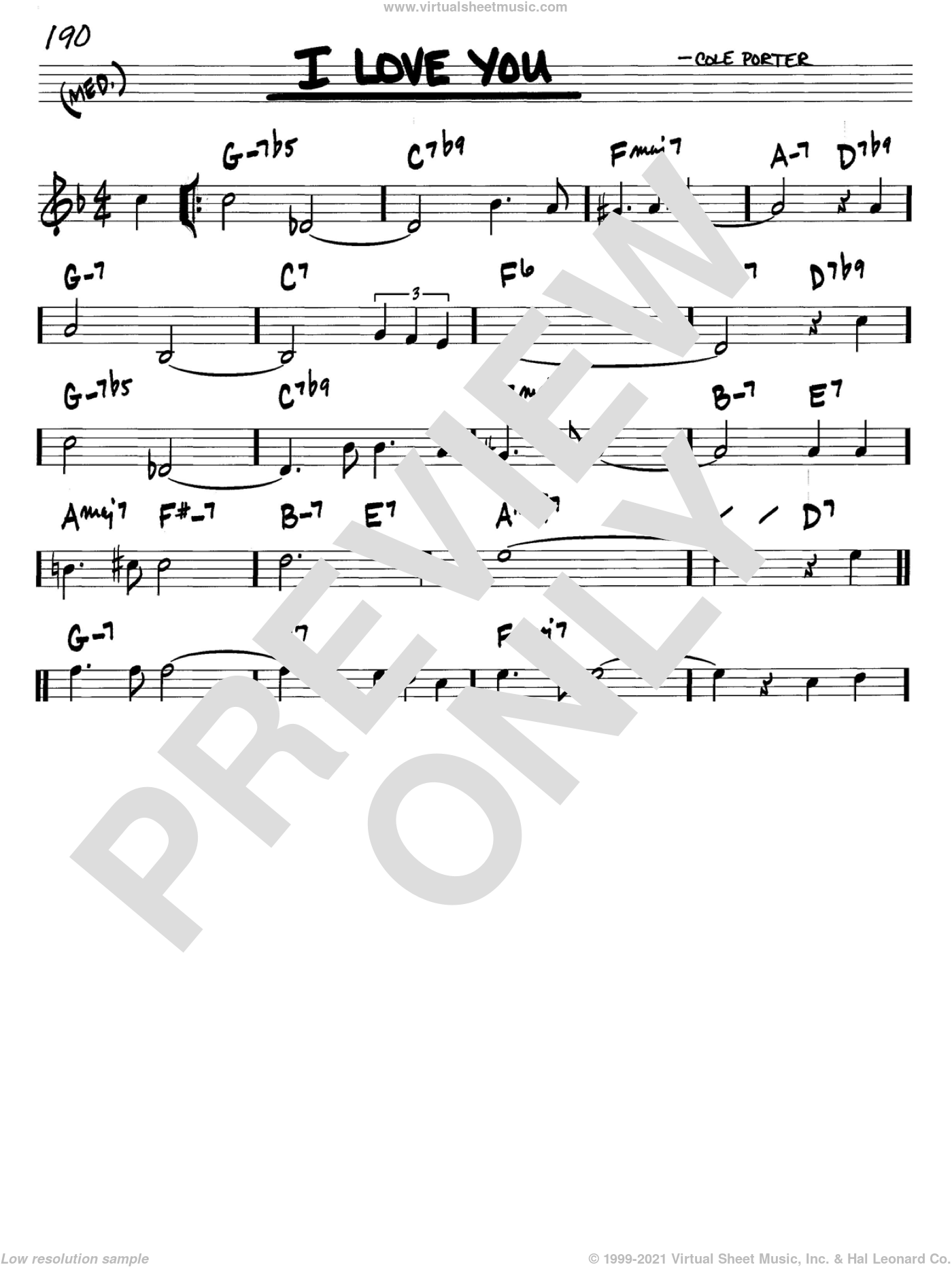 I Love You sheet music for voice and other instruments (C) by Cole Porter. Score Image Preview.