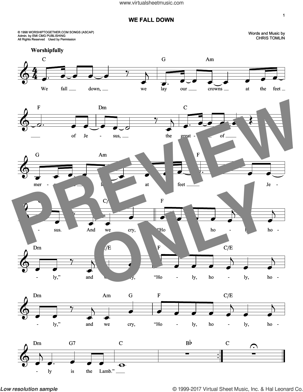 We Fall Down sheet music for voice and other instruments (fake book) by Chris Tomlin, Kutless and Passion, intermediate skill level
