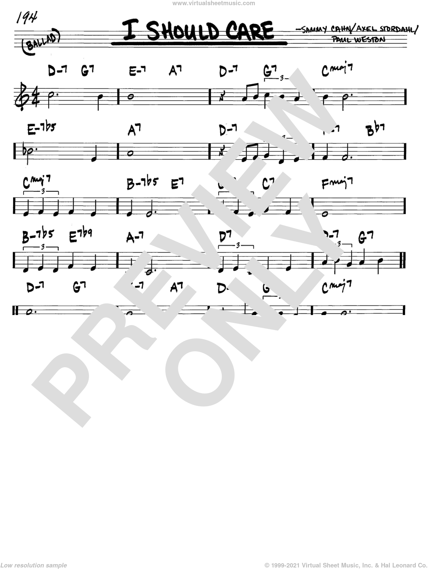 I Should Care sheet music for voice and other instruments (C) by Paul Weston