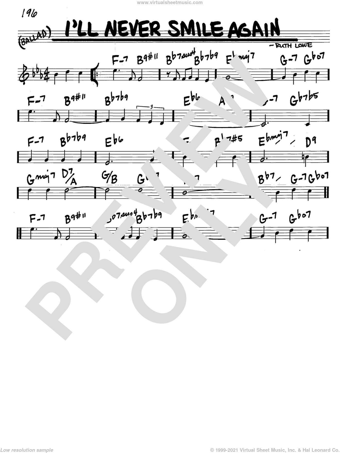 I'll Never Smile Again sheet music for voice and other instruments (C) by Ruth Lowe and Tommy Dorsey. Score Image Preview.