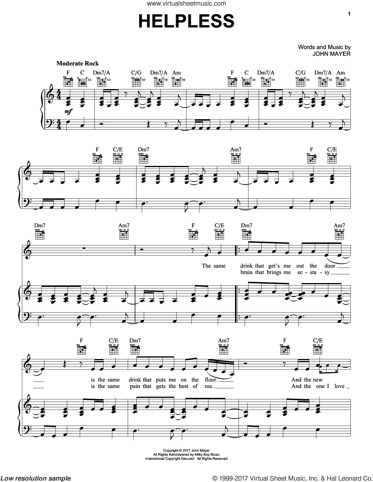 Helpless sheet music for voice, piano or guitar by John Mayer, intermediate skill level