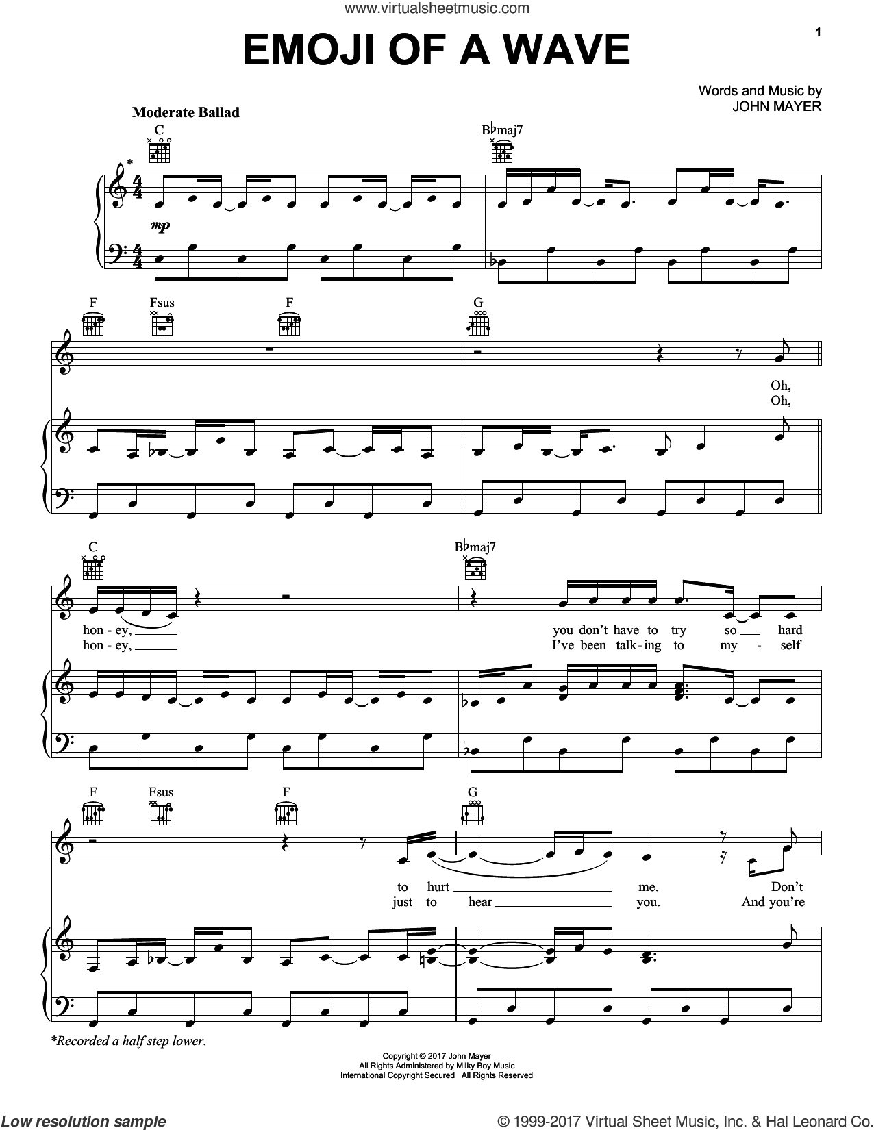 Emoji Of A Wave sheet music for voice, piano or guitar by John Mayer, intermediate skill level