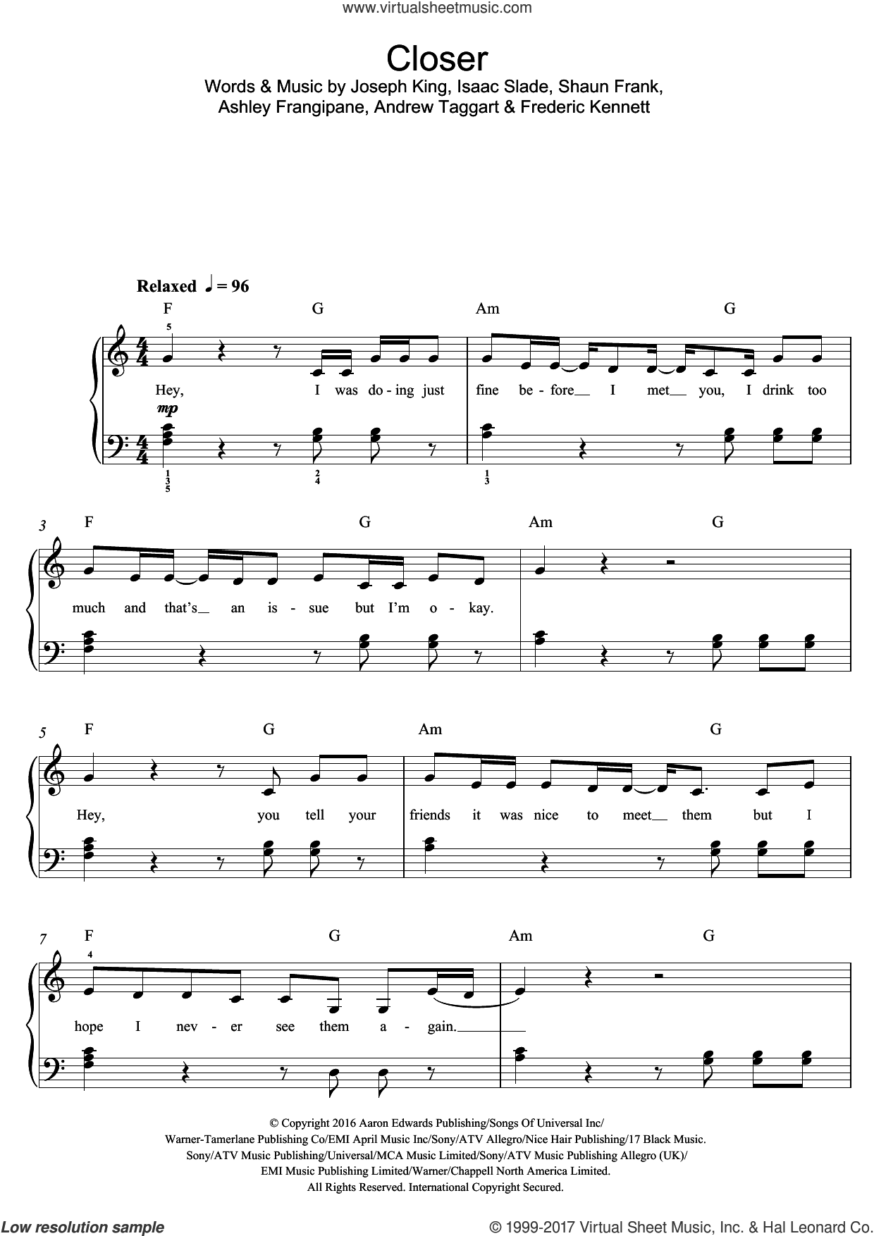 Closer (featuring Halsey) sheet music for piano solo (beginners) by Shaun Frank, The Chainsmokers, Isaac Slade and Joseph King. Score Image Preview.