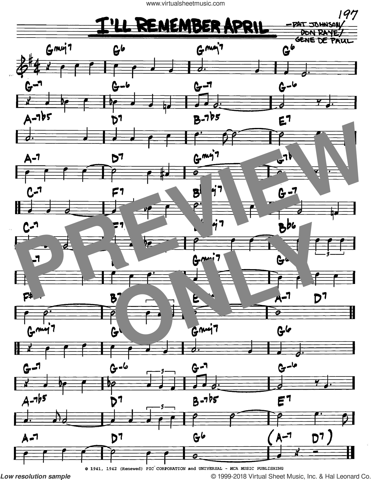 I'll Remember April sheet music for voice and other instruments (C) by Pat Johnson, Woody Herman, Don Raye and Gene DePaul. Score Image Preview.