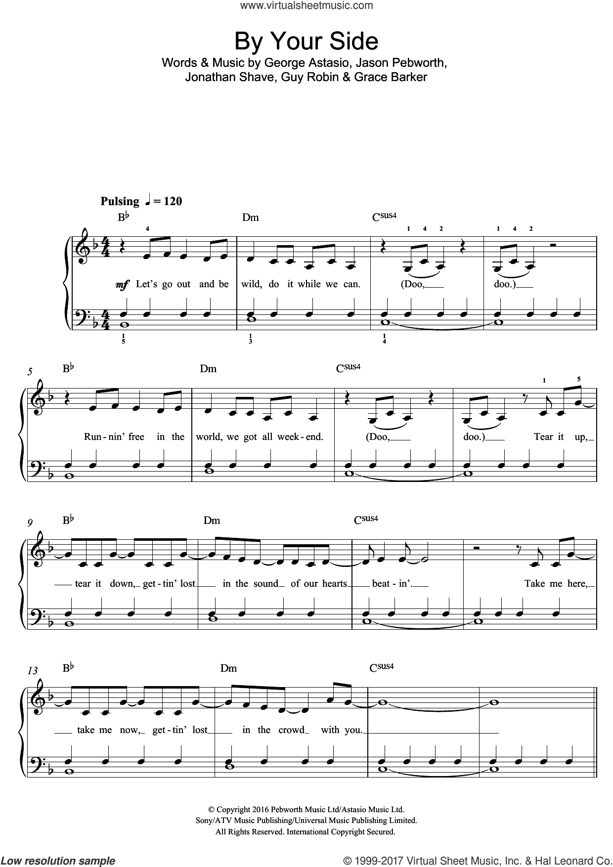 By Your Side (featuring RAYE) sheet music for piano solo (beginners) by Jonas Blue, Don Raye, George Astasio, Grace Barker, Guy Robin, Jason Pebworth and Jonathan Shave, beginner piano (beginners). Score Image Preview.