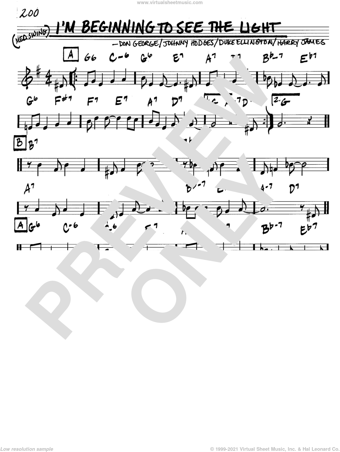 I'm Beginning To See The Light sheet music for voice and other instruments (C) by Johnny Hodges