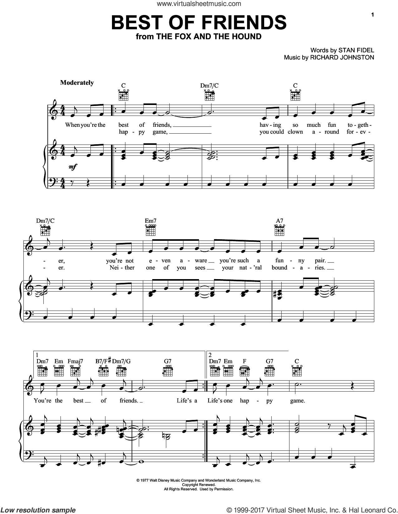 Best Of Friends sheet music for voice, piano or guitar by Stan Fidel and Richard Johnston, intermediate voice, piano or guitar. Score Image Preview.