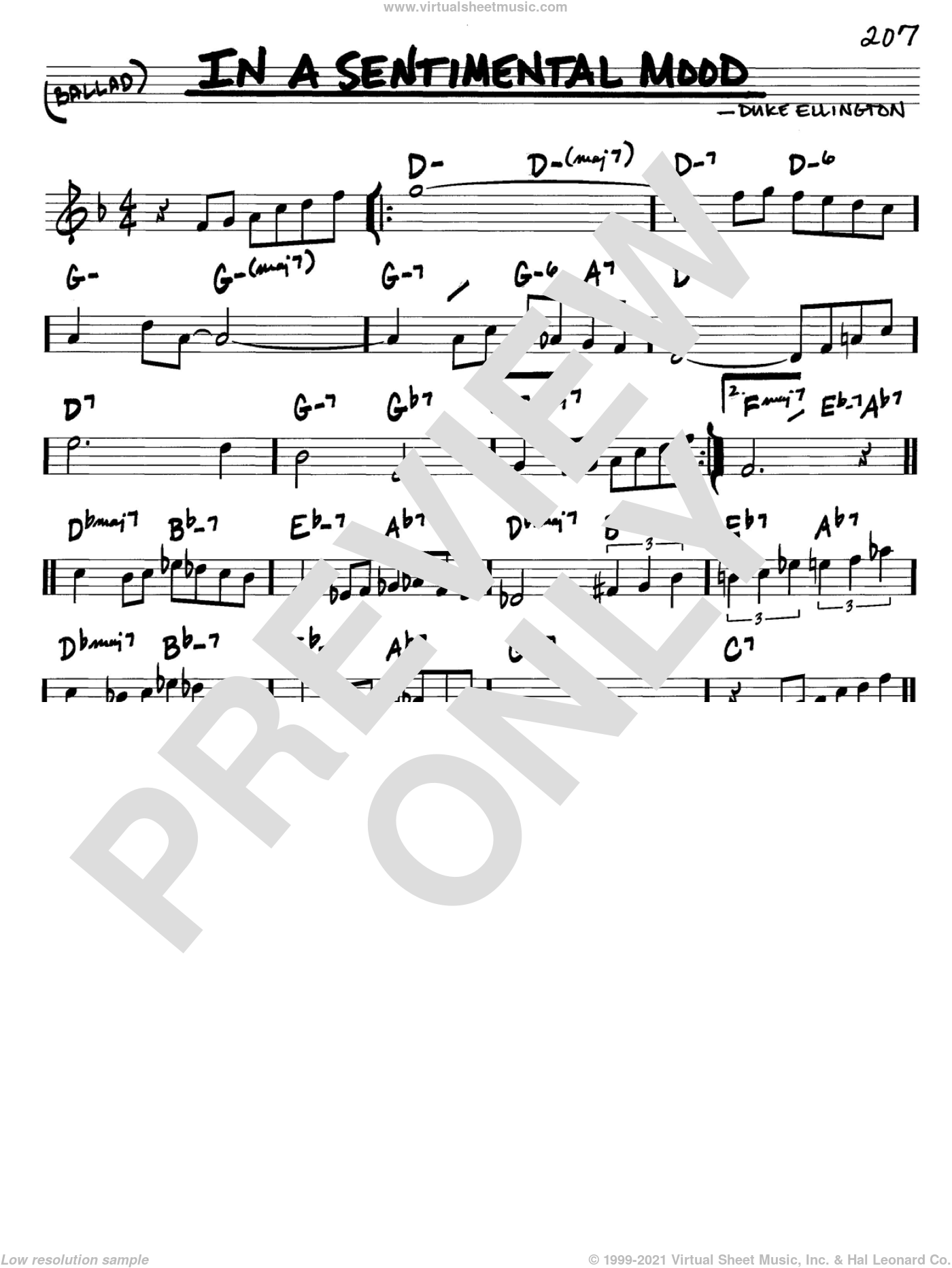 In A Sentimental Mood sheet music for voice and other instruments (in C) by Duke Ellington, Irving Mills and Manny Kurtz, intermediate skill level