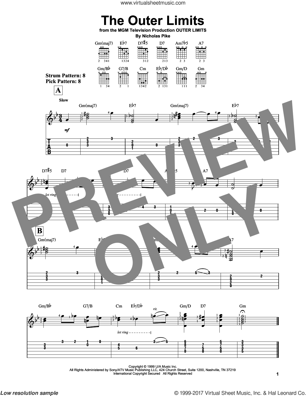 Outer Limits sheet music for guitar solo (easy tablature) by Nicholas Pike, easy guitar (easy tablature)