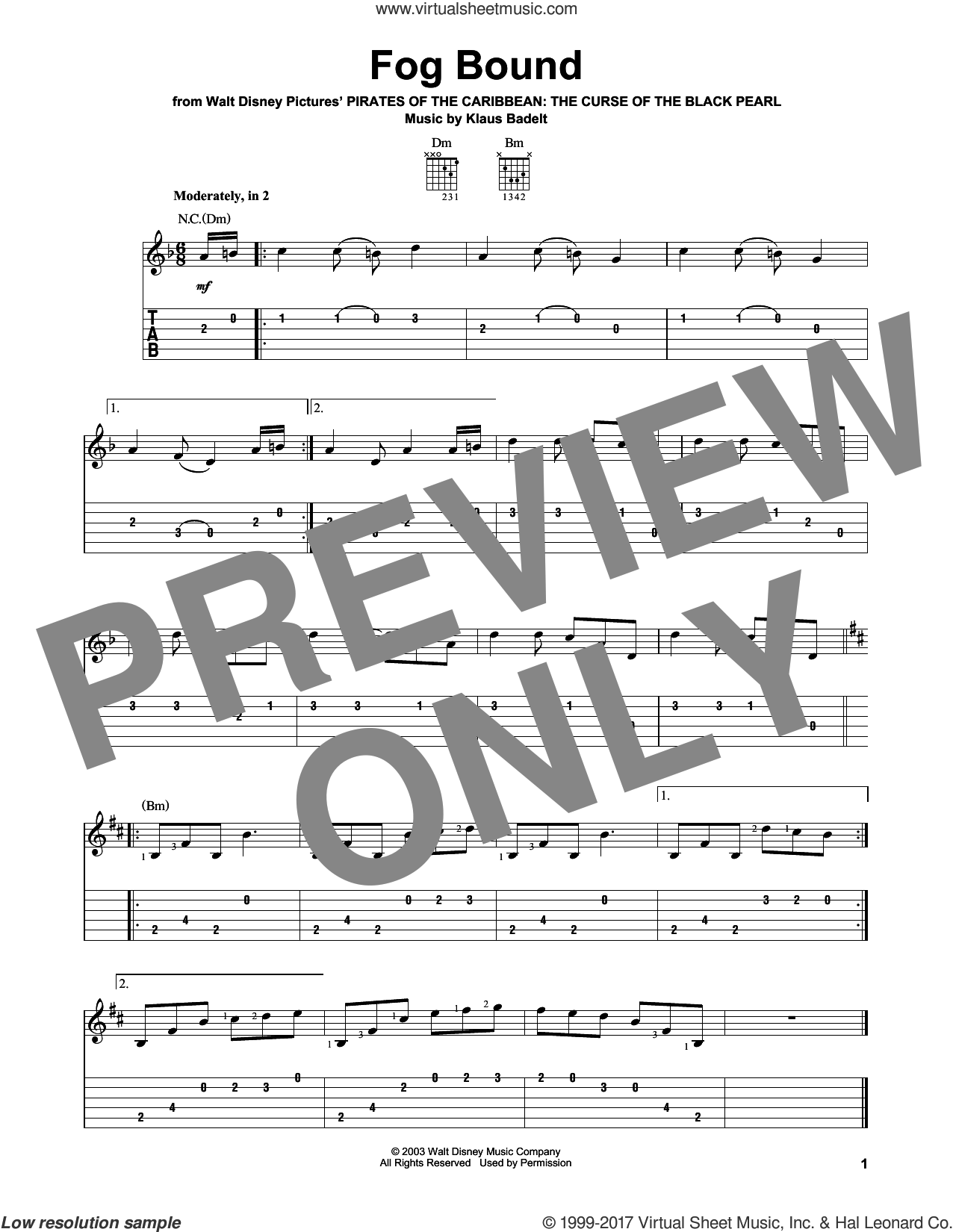 Fog Bound sheet music for guitar solo (easy tablature) by Klaus Badelt, easy guitar (easy tablature)