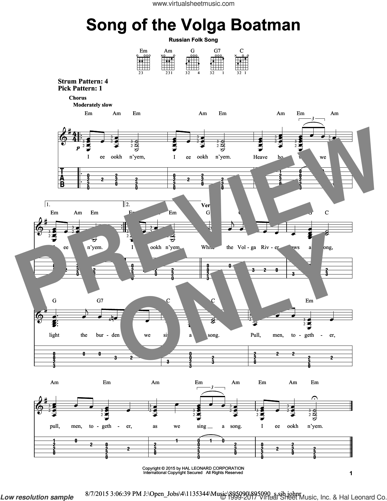 Song Of The Volga Boatman sheet music for guitar solo (easy tablature), easy guitar (easy tablature)