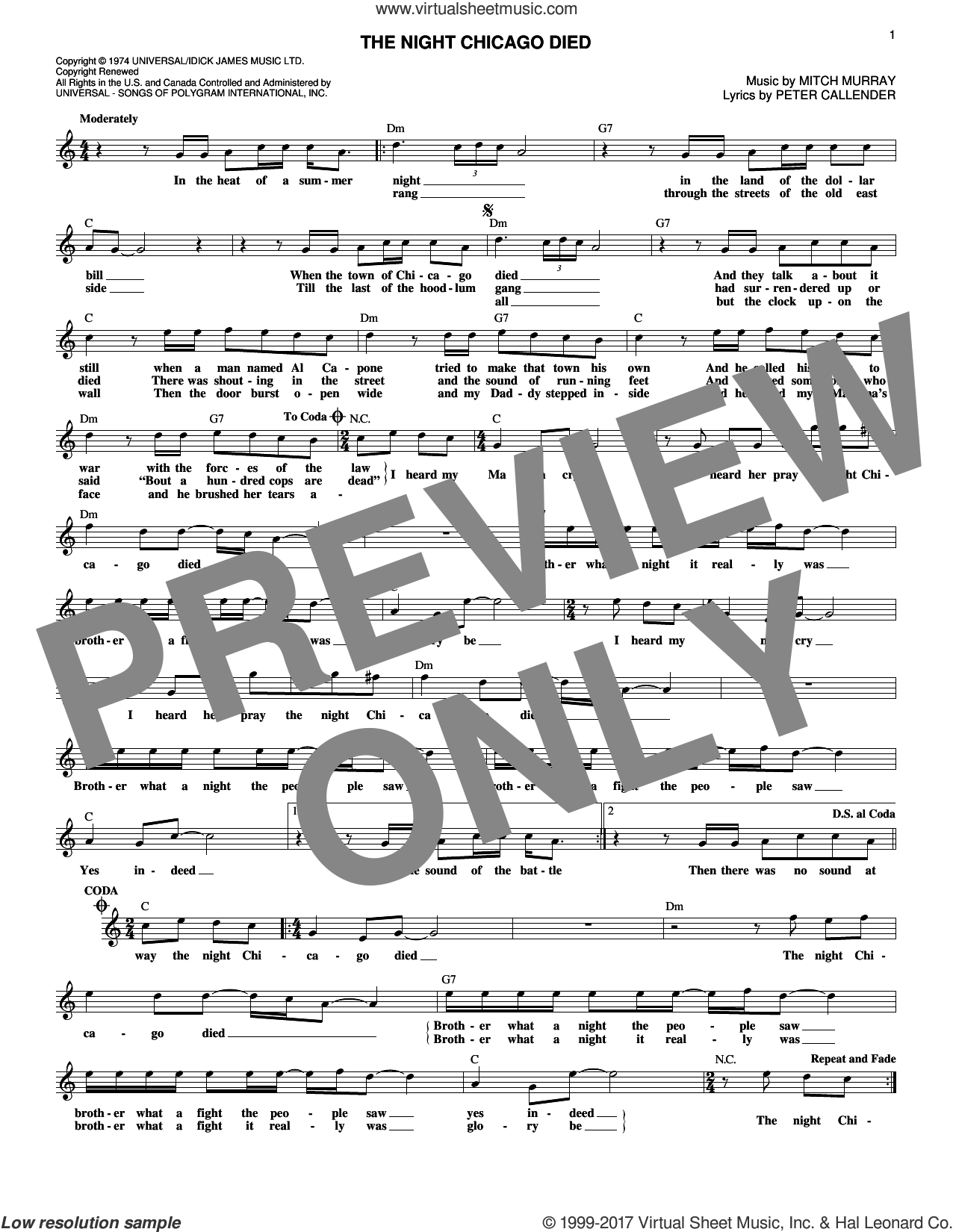 The Night Chicago Died sheet music for voice and other instruments (fake book) by Peter Callander and Mitch Murray. Score Image Preview.