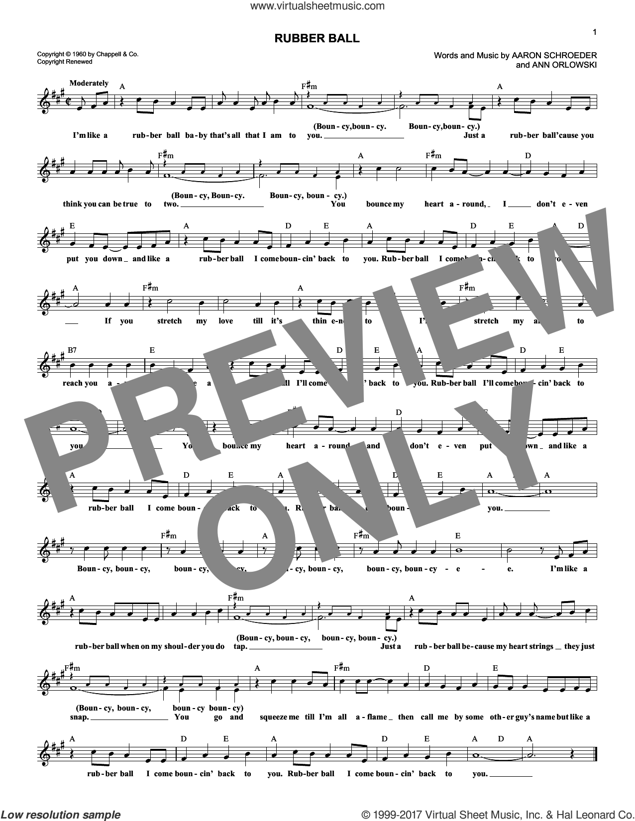 Rubber Ball sheet music for voice and other instruments (fake book) by Ann Orlowski and Aaron Schroeder. Score Image Preview.