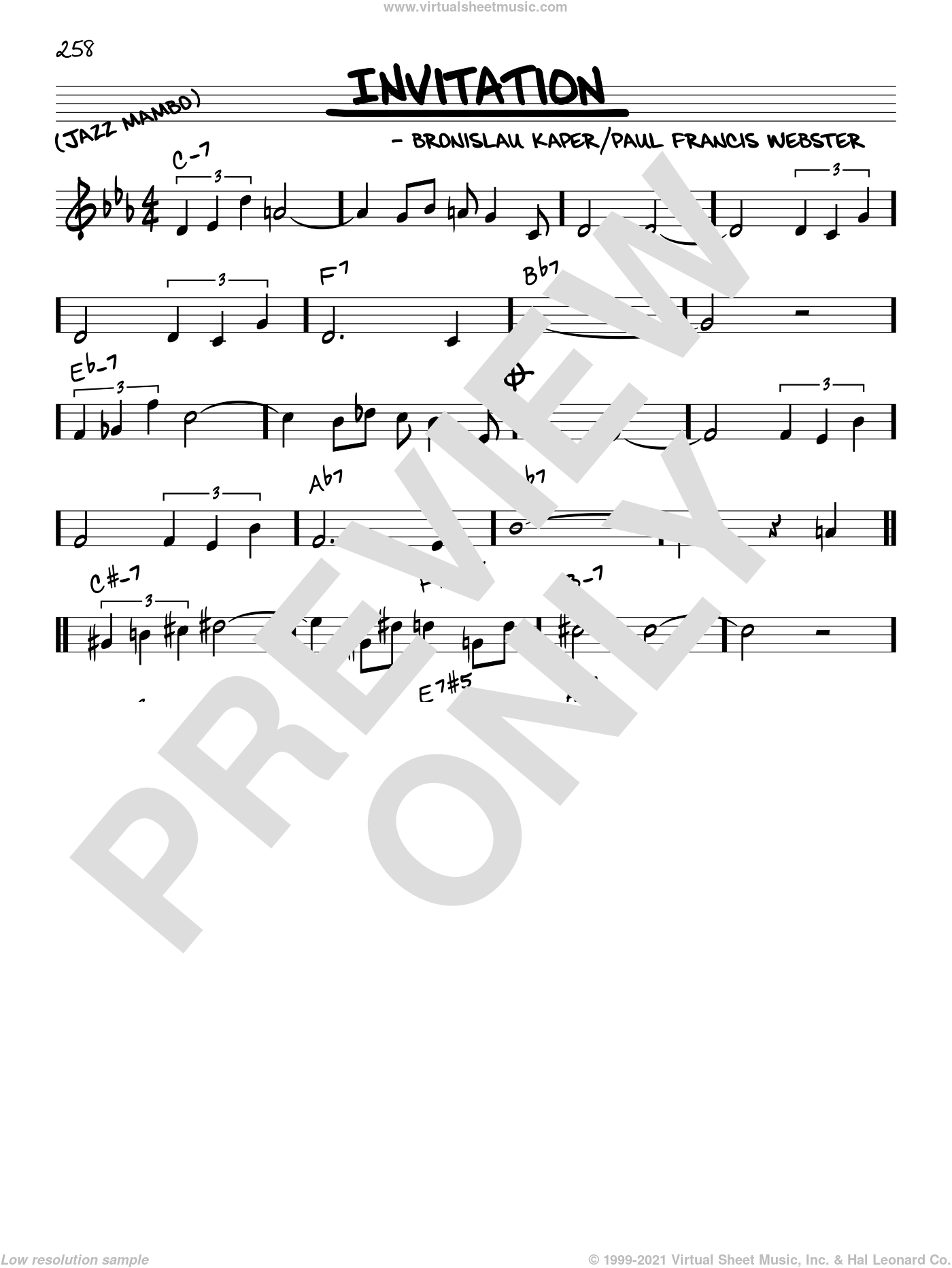 Invitation sheet music for voice and other instruments (C) by Paul Francis Webster and Bronislau Kaper, intermediate voice. Score Image Preview.