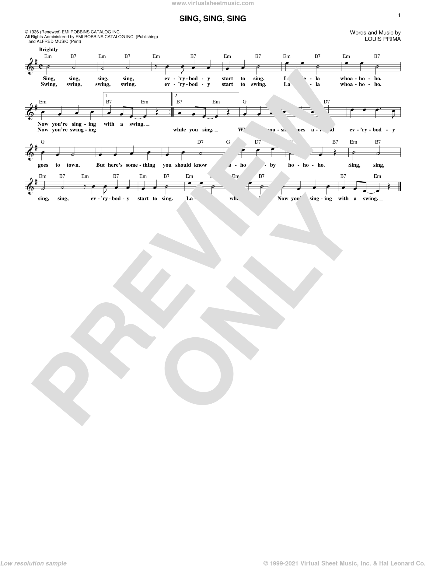 Sing, Sing, Sing sheet music for voice and other instruments (fake book) by Benny Goodman and Louis Prima, intermediate voice. Score Image Preview.