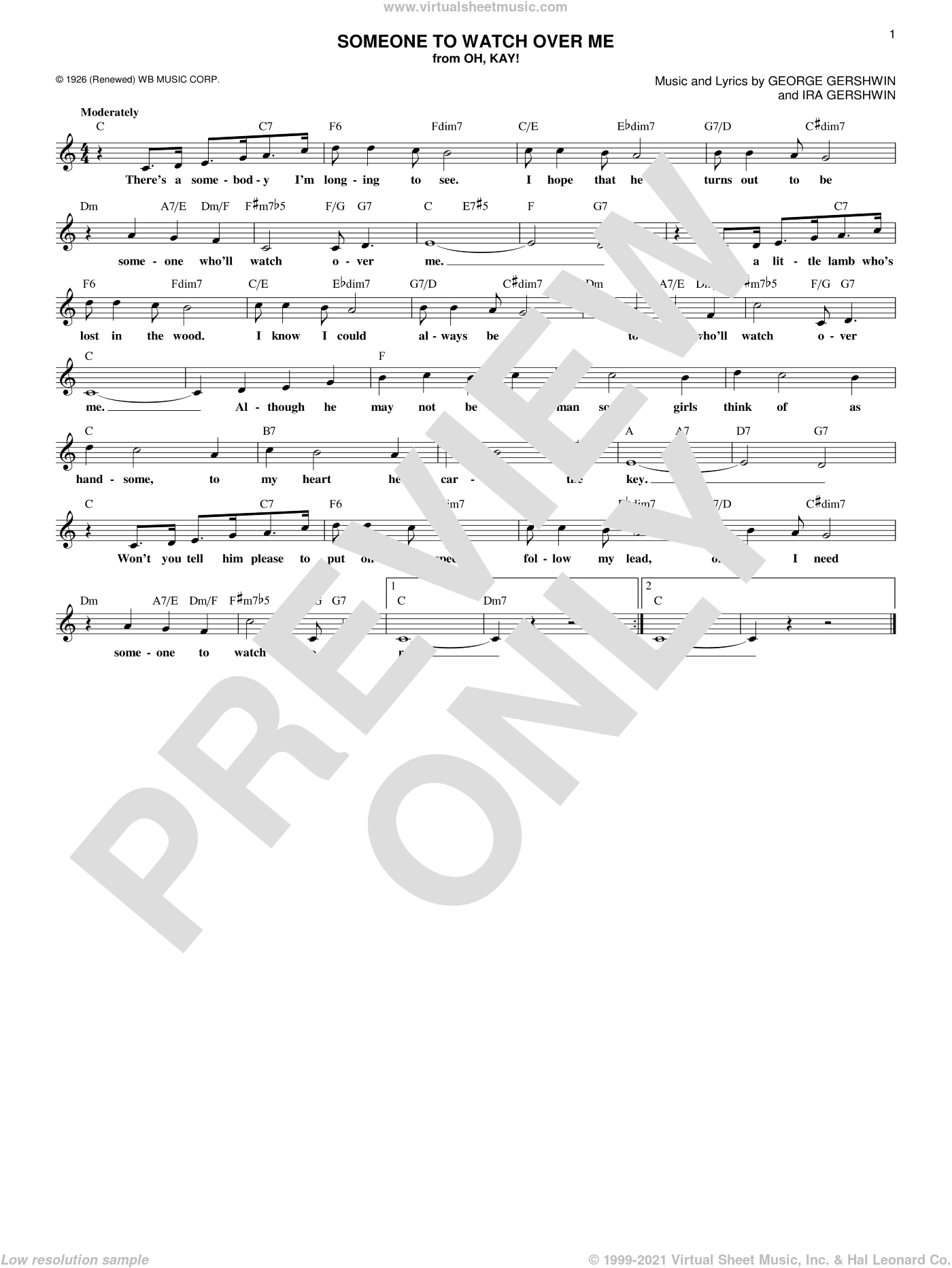 Someone To Watch Over Me sheet music for voice and other instruments (fake book) by George Gershwin and Ira Gershwin, intermediate skill level