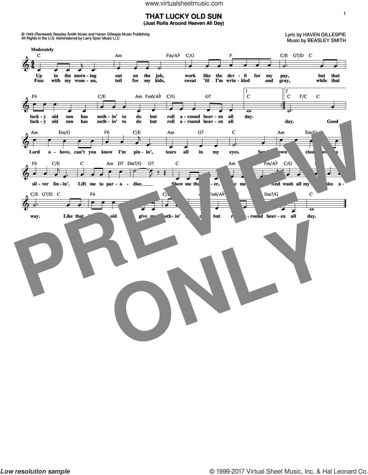 That Lucky Old Sun sheet music for voice and other instruments (fake book) by Haven Gillespie, Johnny Cash and Beasley Smith, intermediate. Score Image Preview.