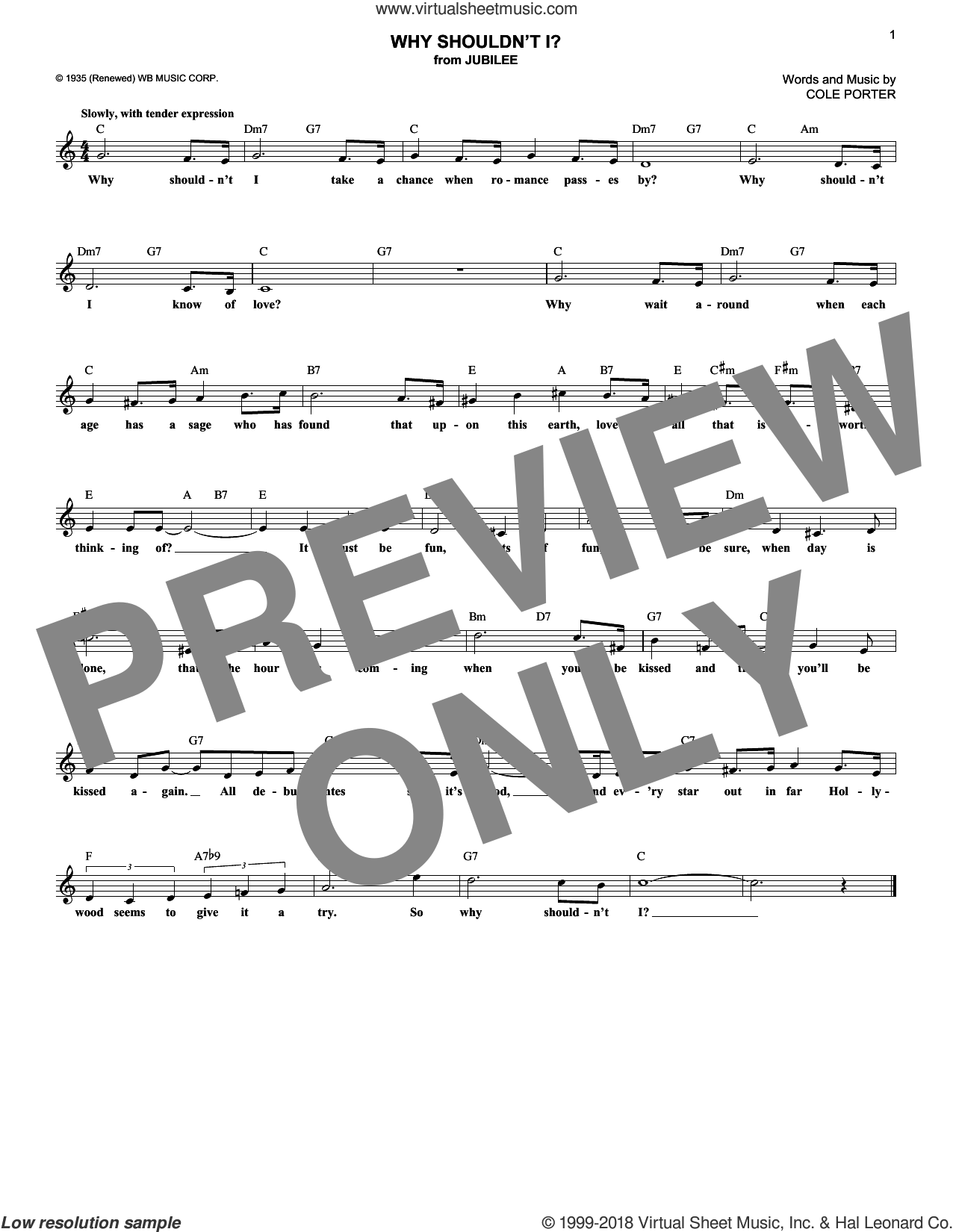 Why Shouldn't I? sheet music for voice and other instruments (fake book) by Cole Porter, intermediate skill level