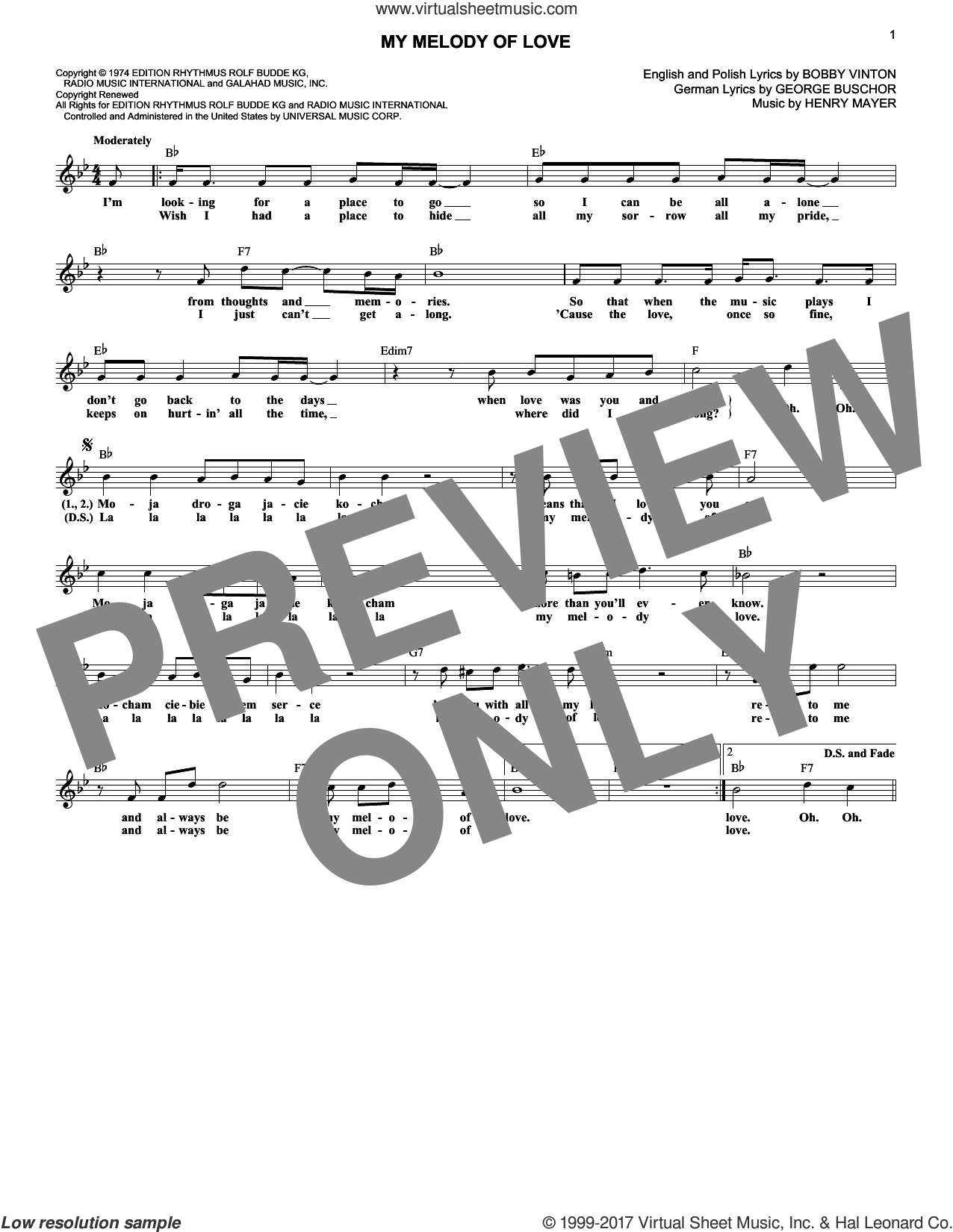 My Melody Of Love sheet music for voice and other instruments (fake book) by Bobby Vinton and Henry Mayer. Score Image Preview.