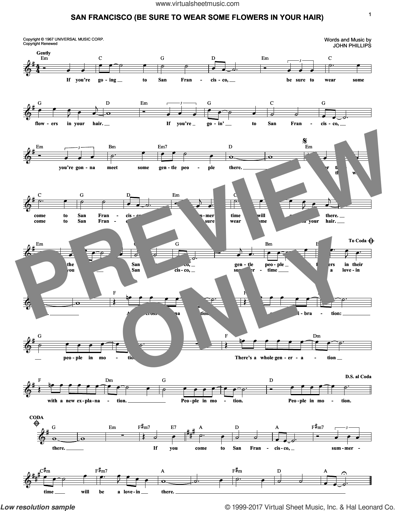 San Francisco (Be Sure To Wear Some Flowers In Your Hair) sheet music for voice and other instruments (fake book) by Scott McKenzie and John Phillips, intermediate skill level
