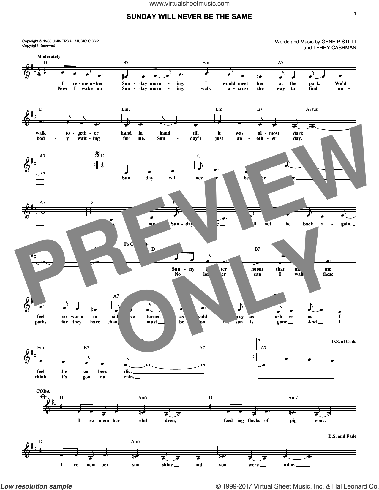 Sunday Will Never Be The Same sheet music for voice and other instruments (fake book) by Spanky & Our Gang, Gene Pistilli and Terry Cashman, intermediate skill level
