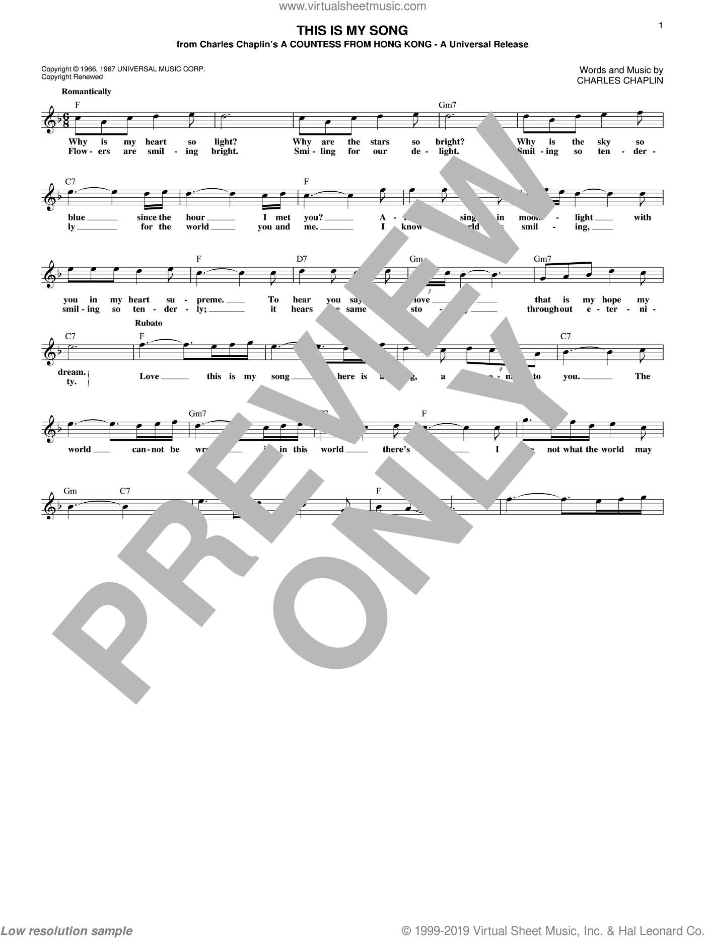 This Is My Song sheet music for voice and other instruments (fake book) by Petula Clark and Charles Chaplin, intermediate skill level