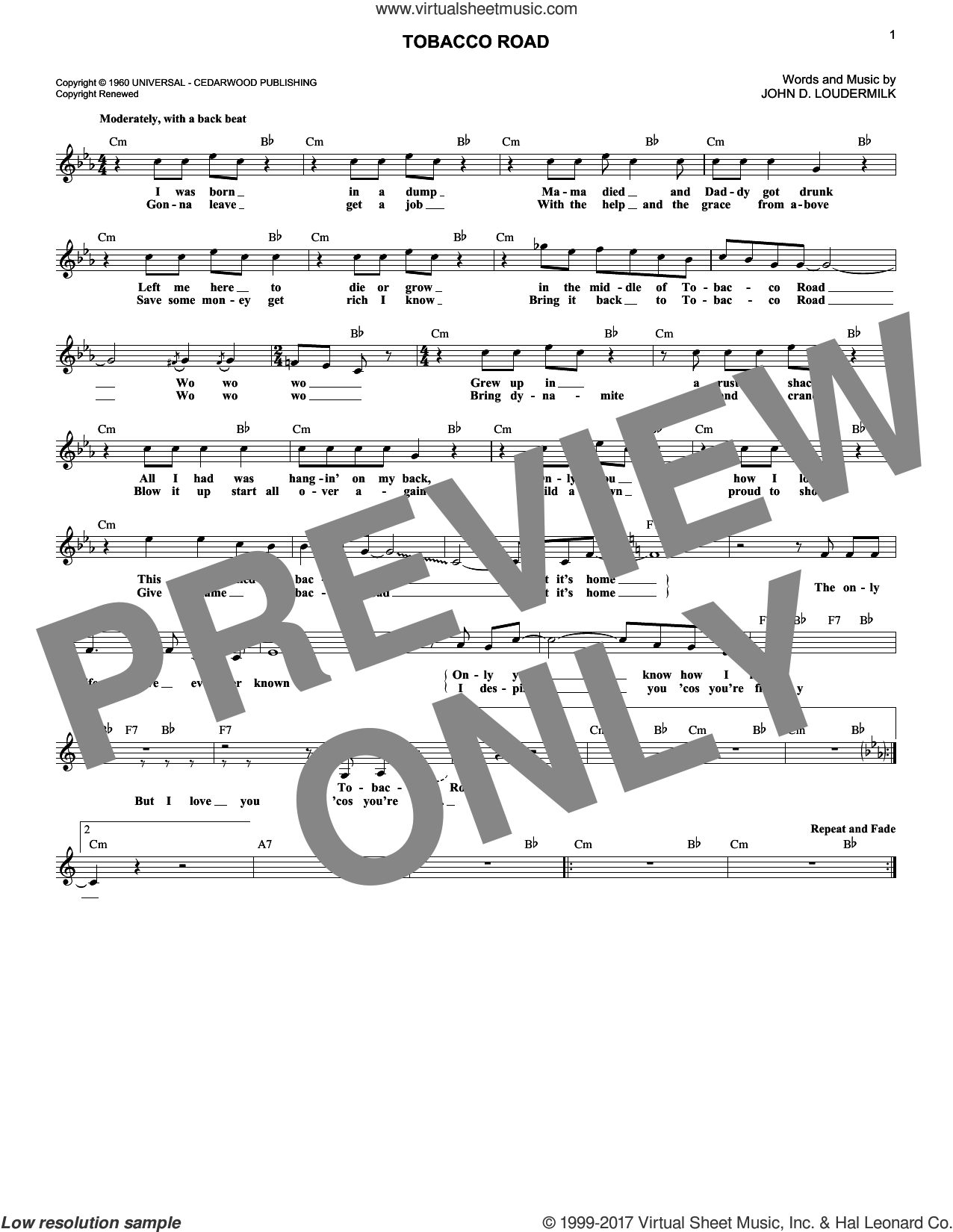 Tobacco Road sheet music for voice and other instruments (fake book) by John D. Loudermilk. Score Image Preview.
