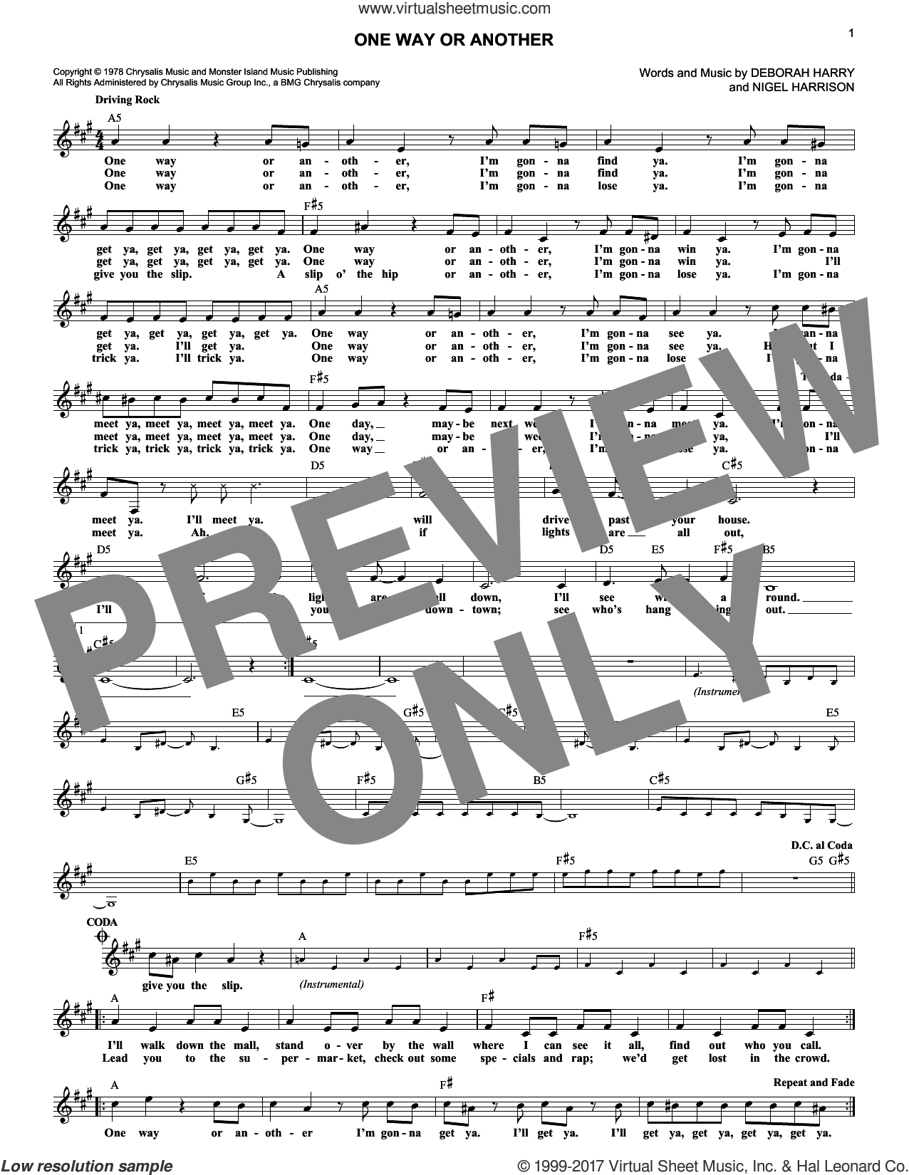 One Way Or Another sheet music for voice and other instruments (fake book) by Blondie, intermediate voice. Score Image Preview.