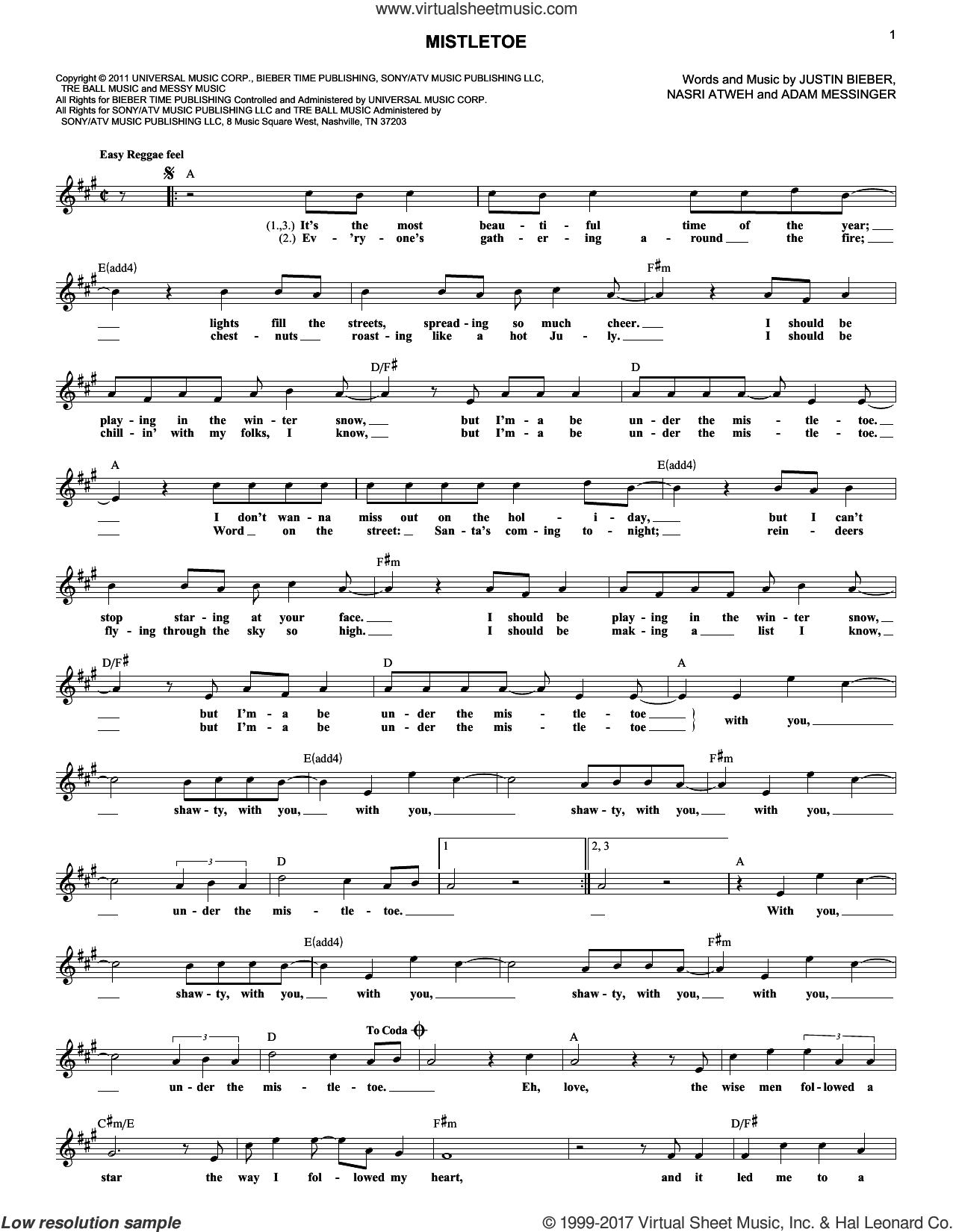 Mistletoe sheet music for voice and other instruments (fake book) by Justin Bieber, Adam Messinger and Nasri Atweh, intermediate skill level