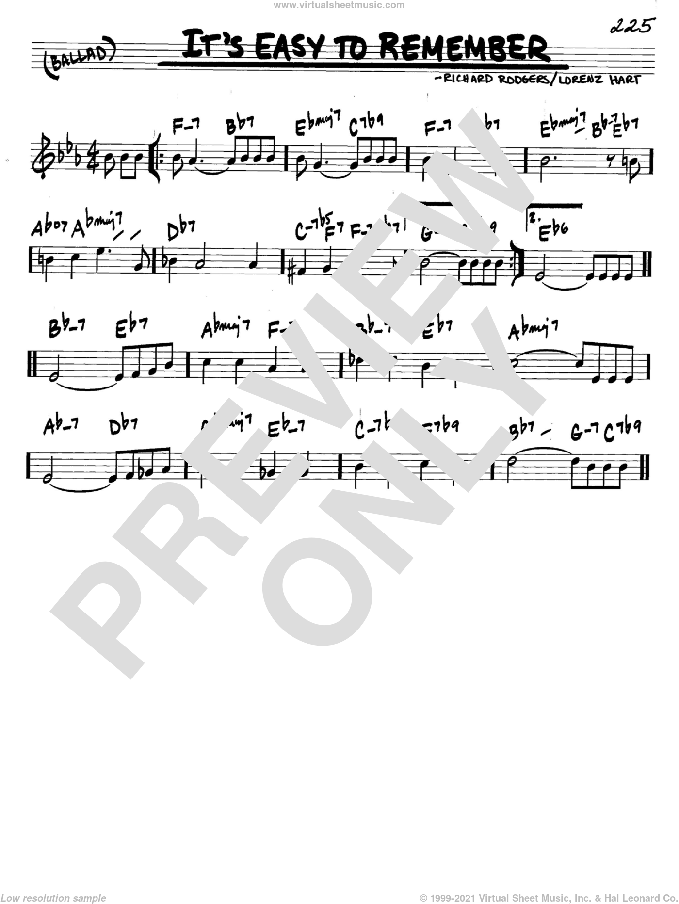 It's Easy To Remember sheet music for voice and other instruments (C) by Richard Rodgers, Rodgers & Hart and Lorenz Hart. Score Image Preview.