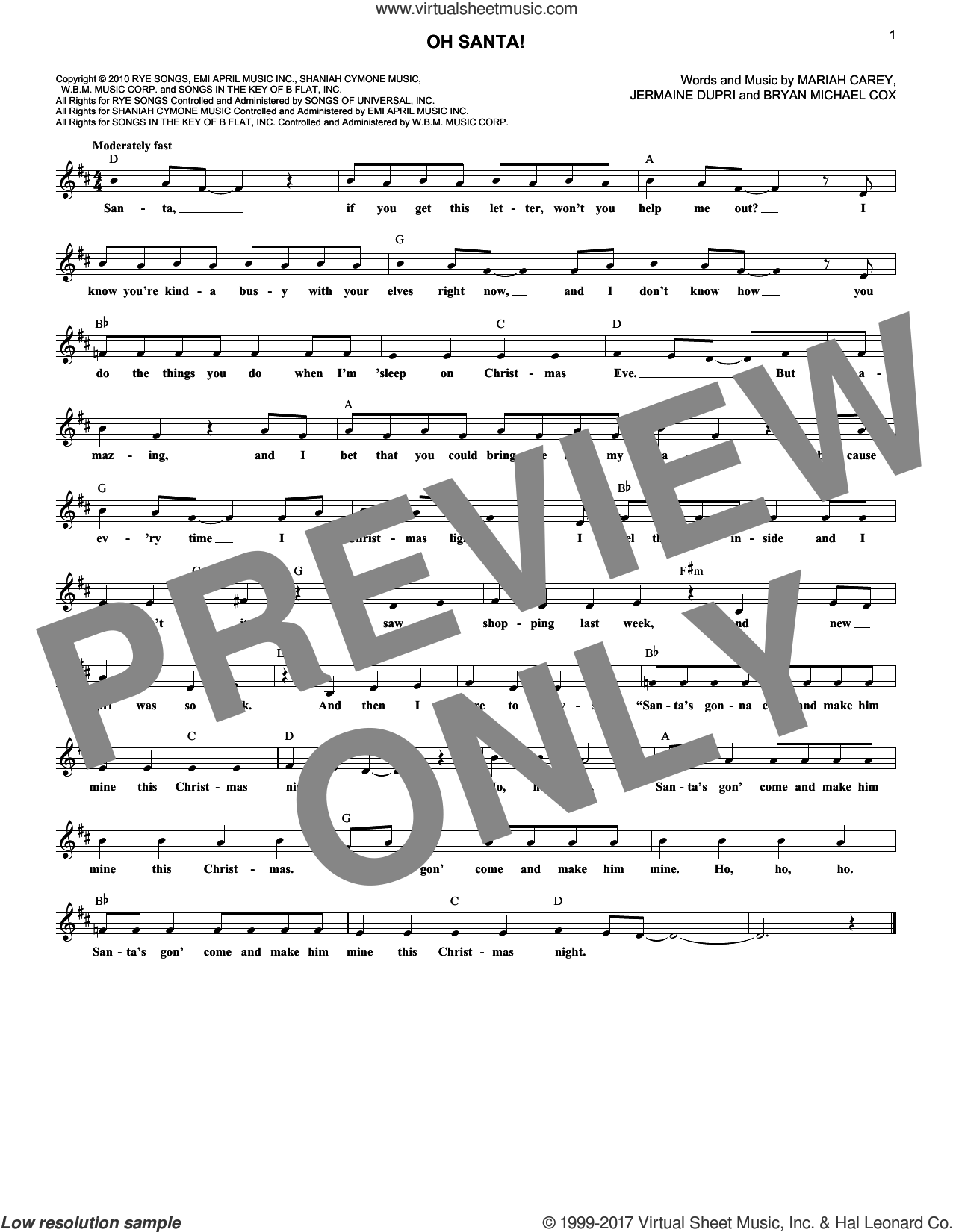 Oh Santa! sheet music for voice and other instruments (fake book) by Mariah Carey, Bryan Michael Cox and Jermaine Dupri. Score Image Preview.