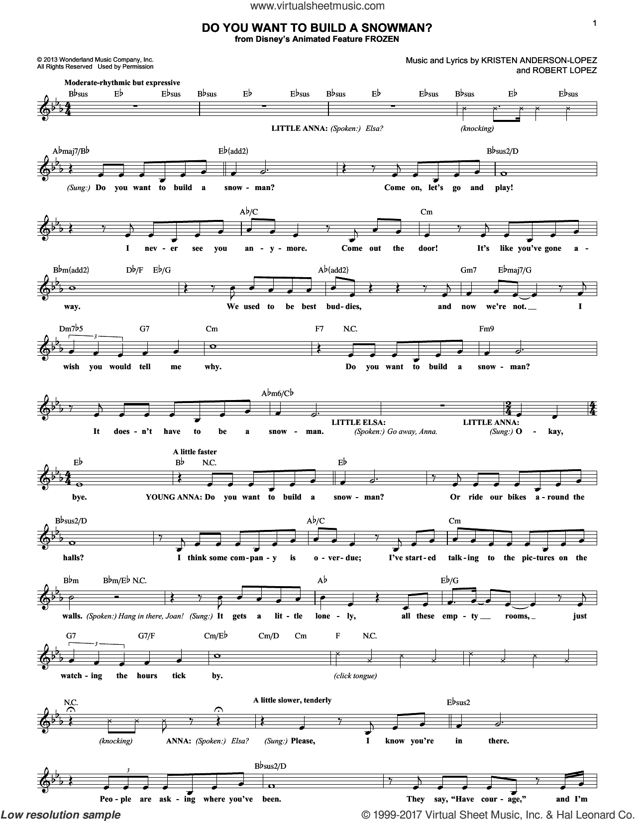 Do You Want To Build A Snowman? sheet music for voice and other instruments (fake book) by Kristen Bell, Agatha Lee Monn & Katie Lopez, Kristen Anderson-Lopez and Robert Lopez, intermediate skill level