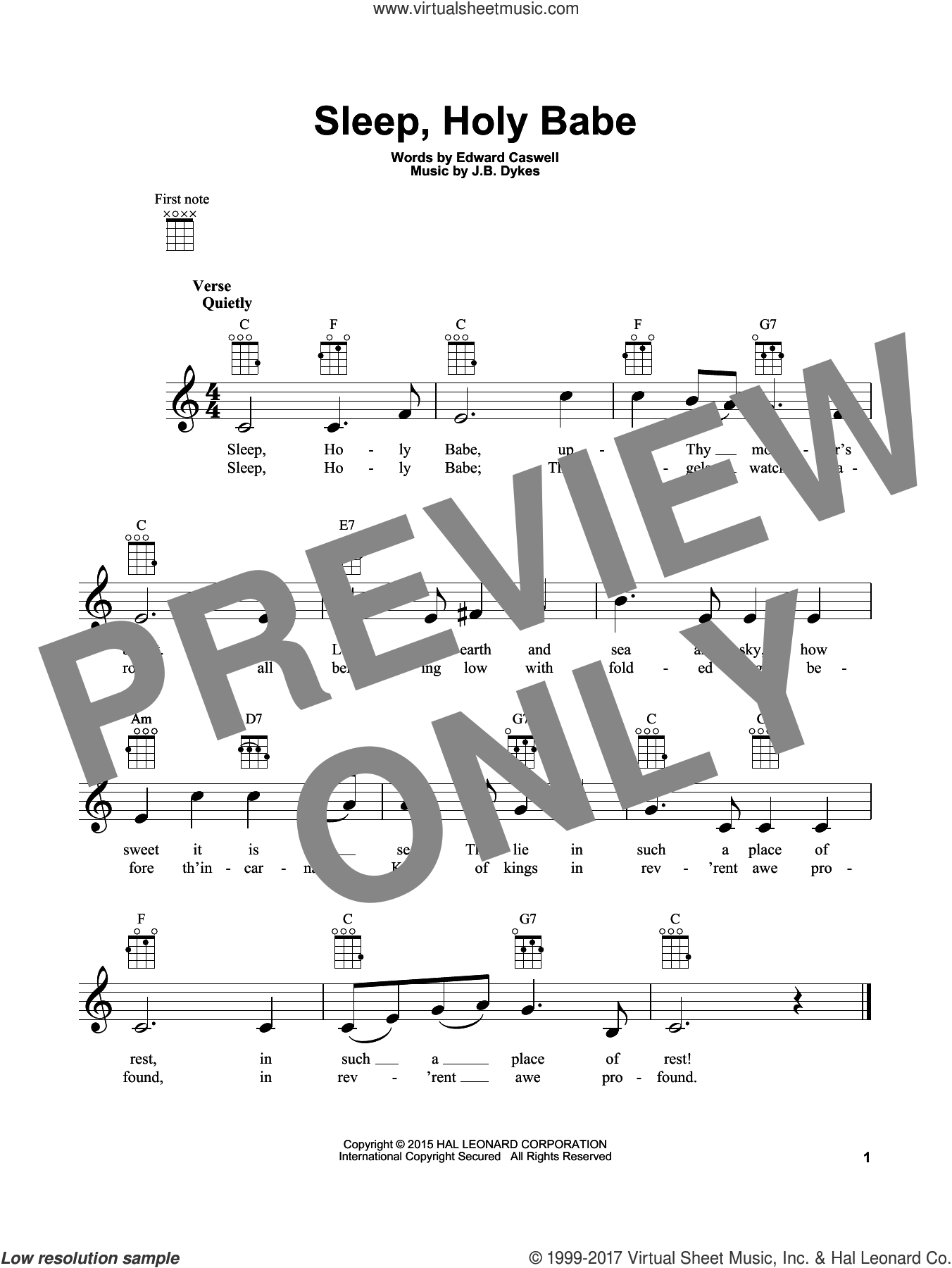 Sleep, Holy Babe sheet music for ukulele by John Bacchus Dykes and Edward Caswall, intermediate skill level