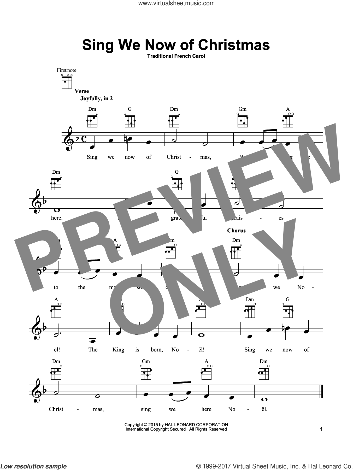 Sing We Now Of Christmas sheet music for ukulele, intermediate skill level