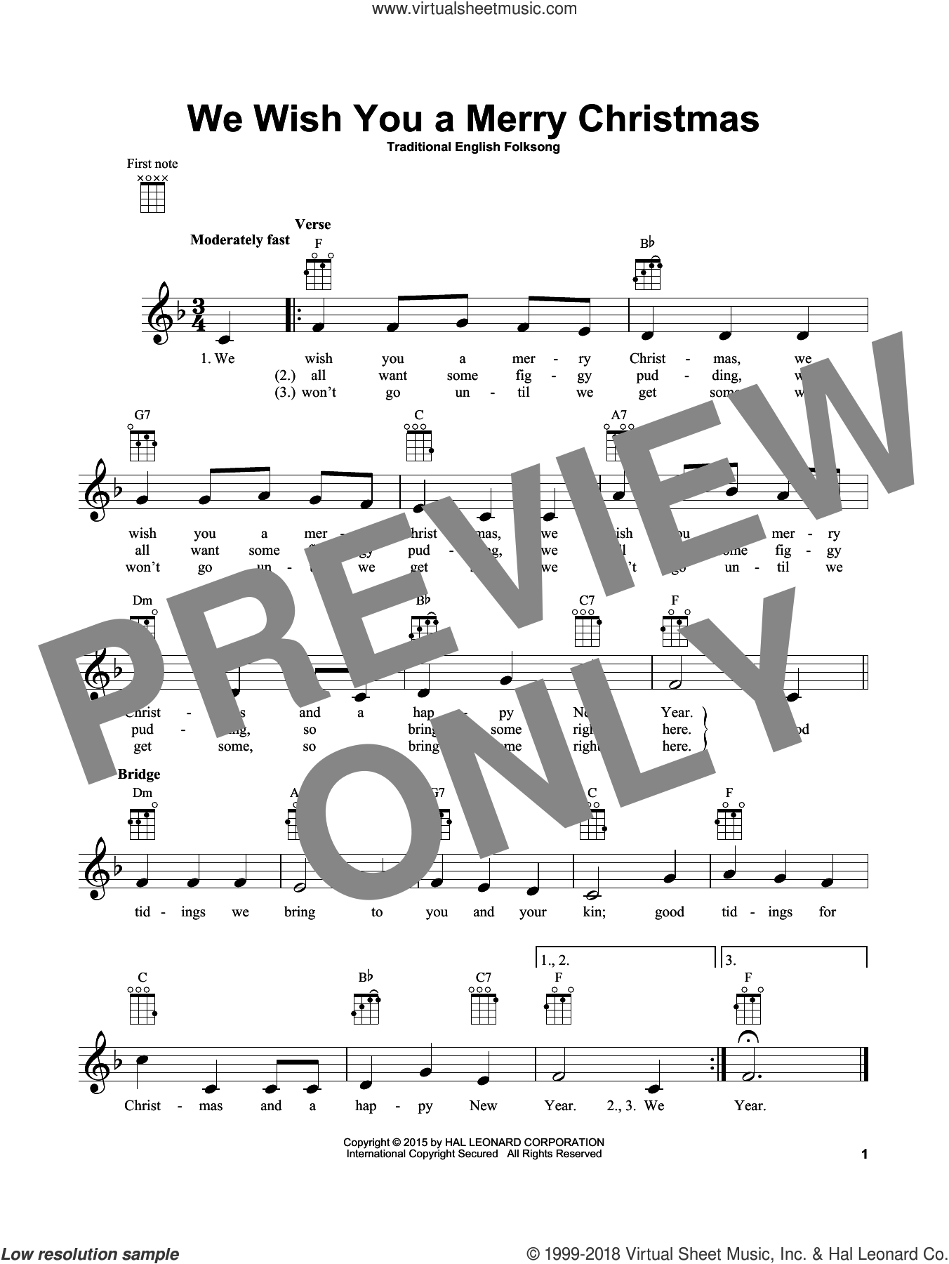 We Wish You A Merry Christmas sheet music for ukulele by Traditional English Folksong, intermediate skill level