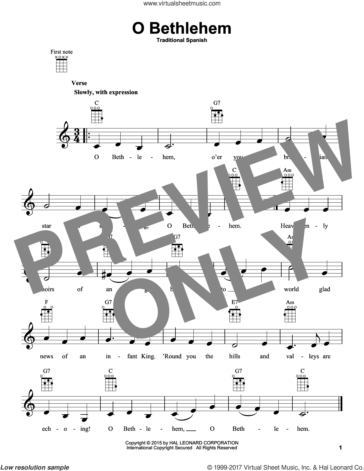 O Bethlehem sheet music for ukulele, intermediate