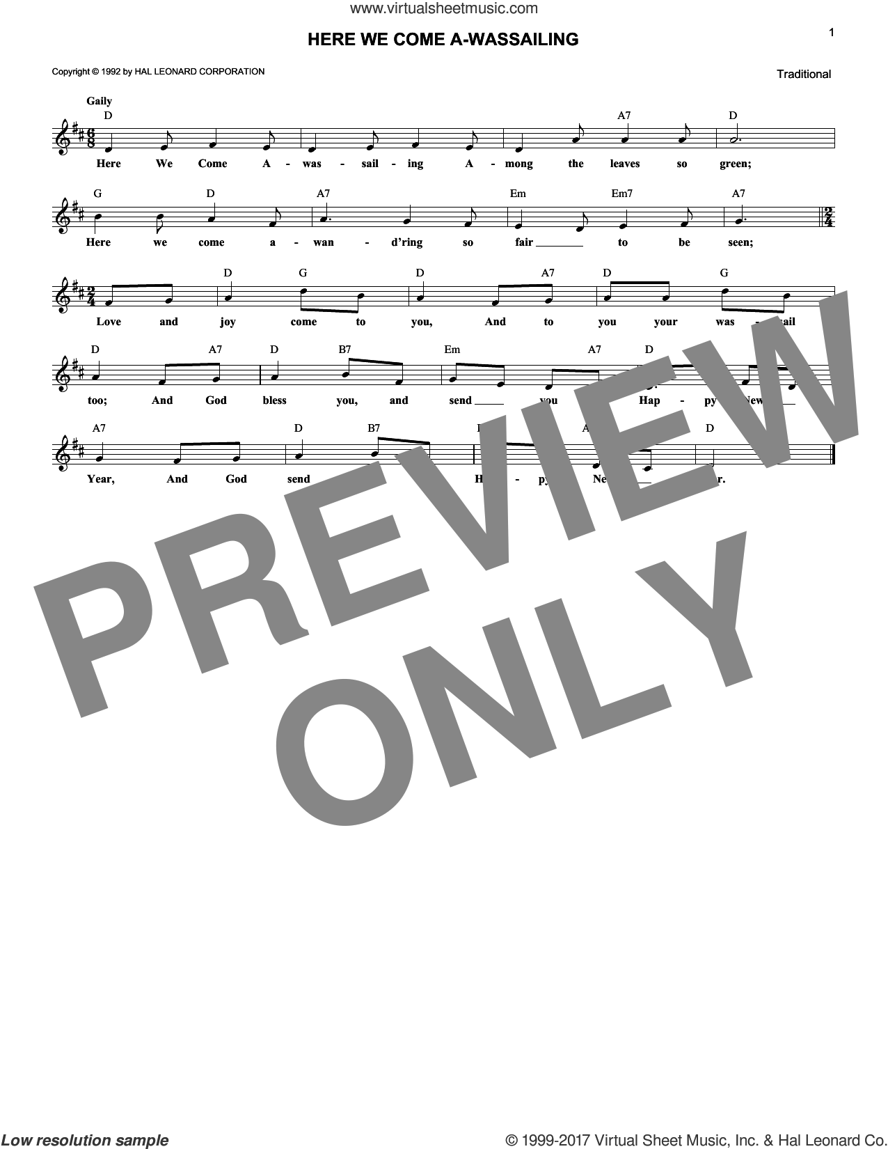 Here We Come A-Wassailing sheet music for voice and other instruments (fake book). Score Image Preview.