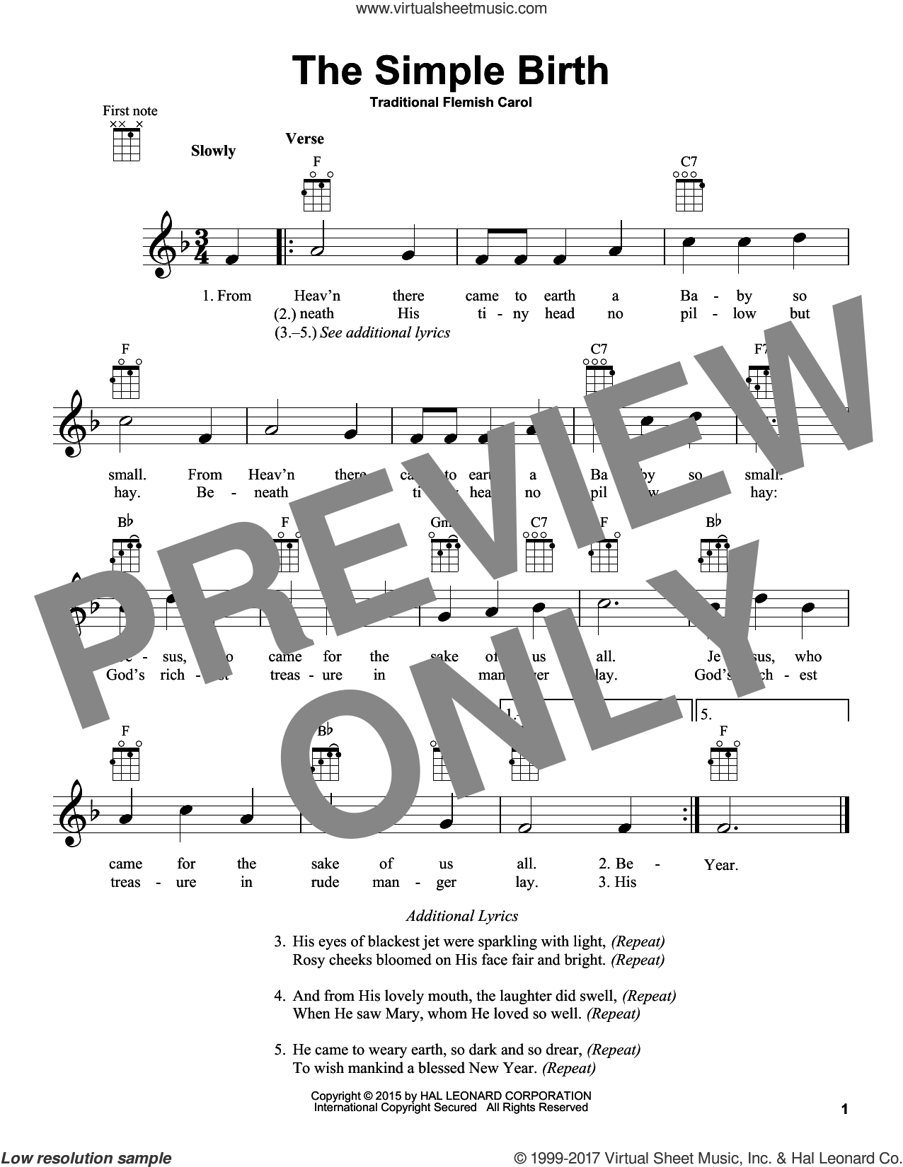 The Simple Birth sheet music for ukulele, intermediate skill level