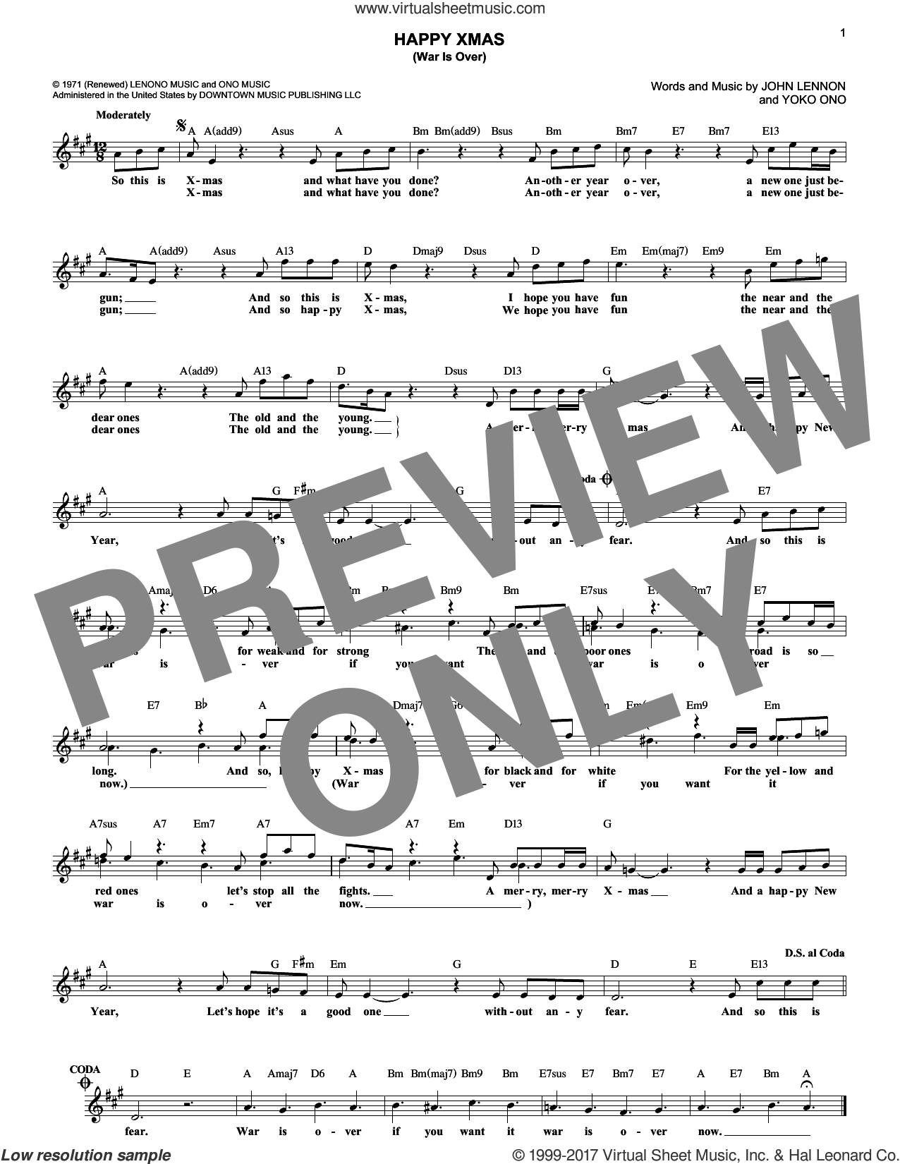 Happy Xmas (War Is Over) sheet music for voice and other instruments (fake book) by John Lennon, Sarah McLachlan and Yoko Ono, intermediate skill level
