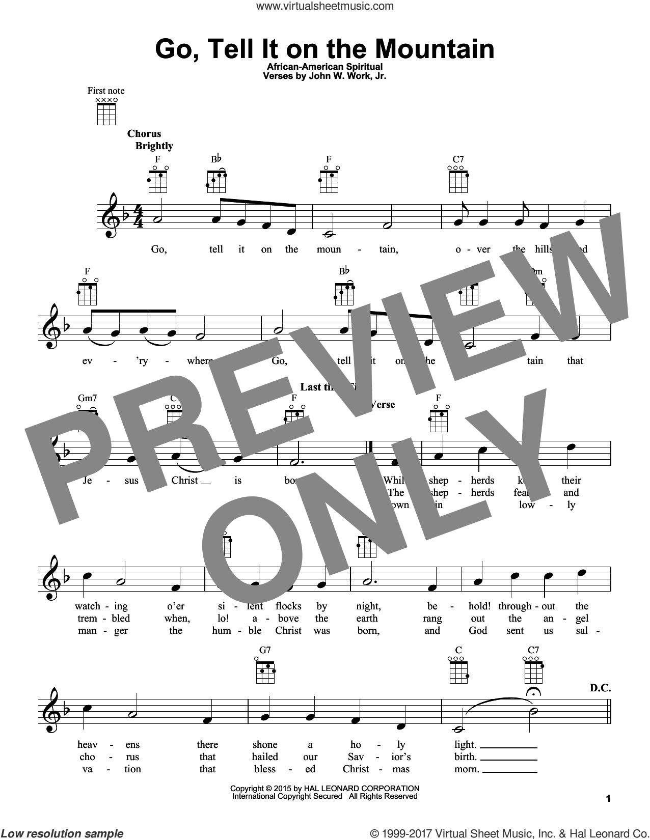 Go, Tell It On The Mountain sheet music for ukulele by John W. Work, Jr. and Miscellaneous, intermediate skill level
