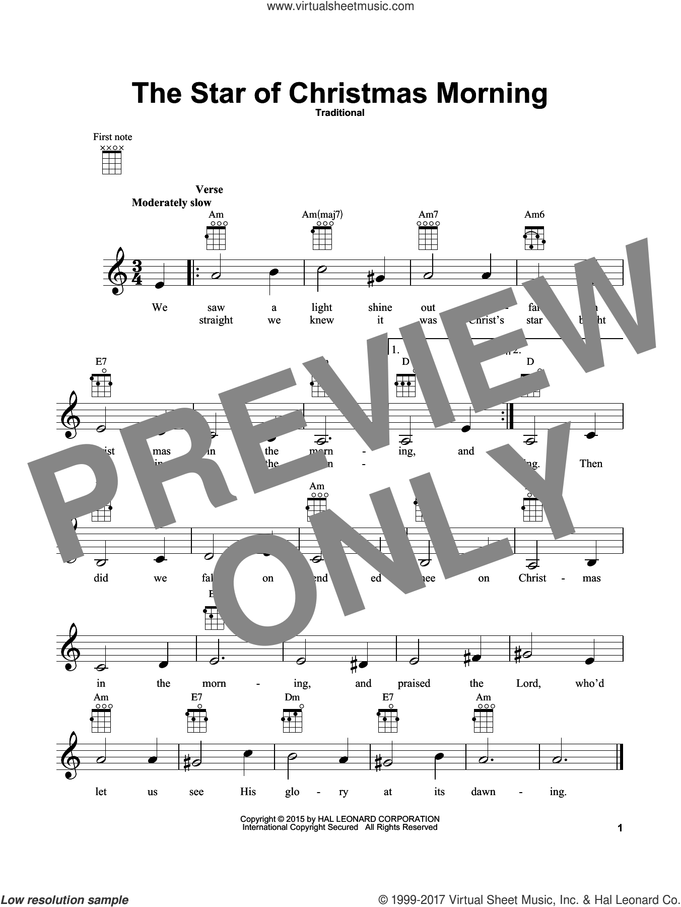 The Star Of Christmas Morning sheet music for ukulele. Score Image Preview.