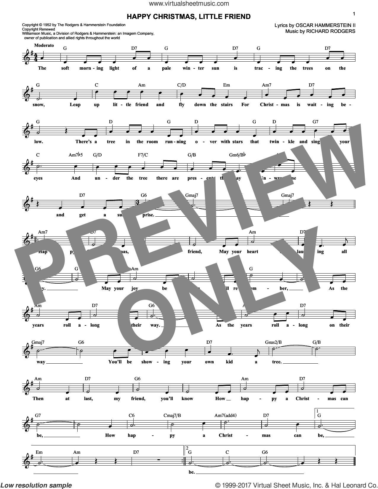 Happy Christmas, Little Friend sheet music for voice and other instruments (fake book) by Rodgers & Hammerstein, Oscar II Hammerstein and Richard Rodgers, intermediate. Score Image Preview.