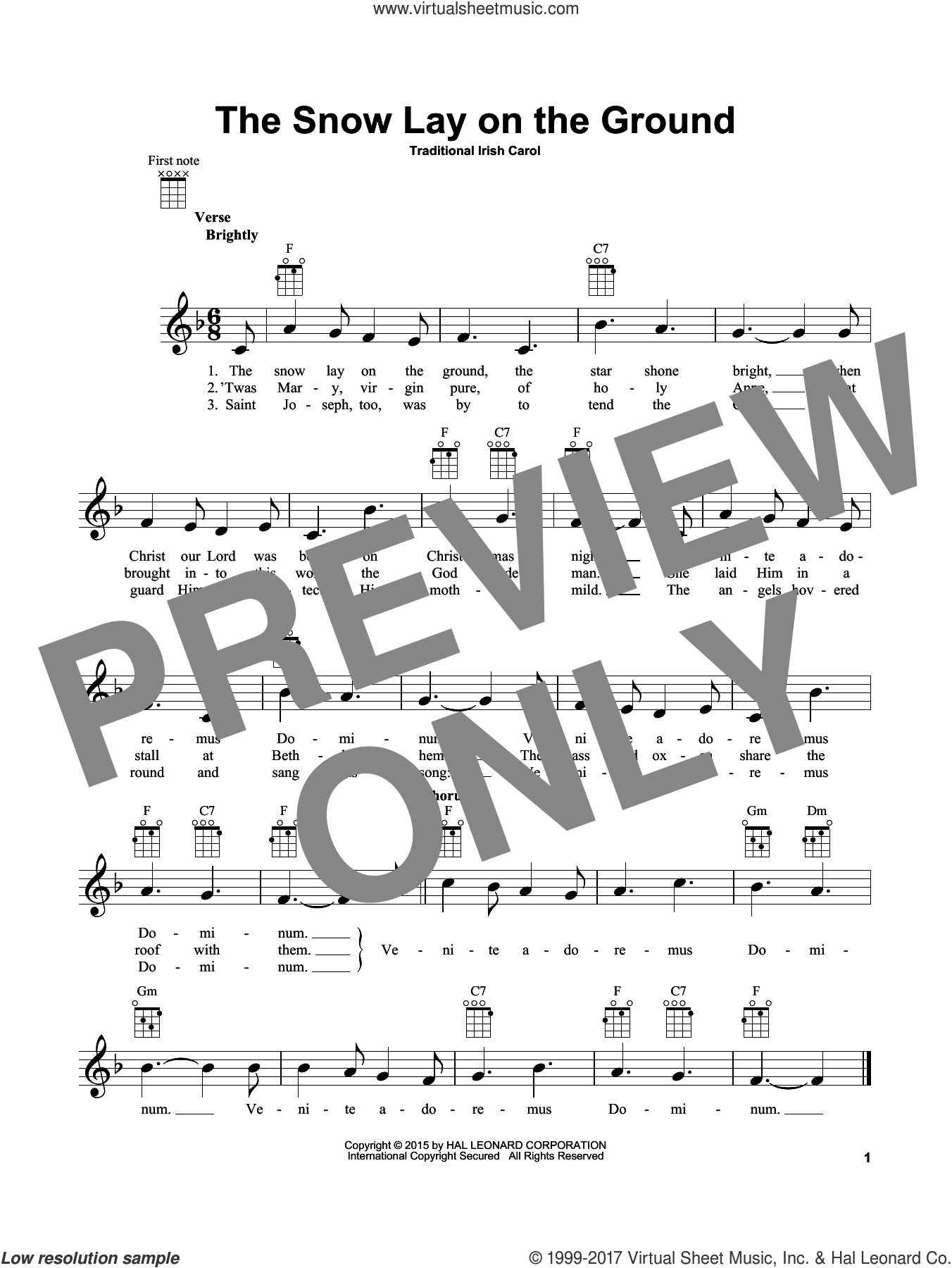 The Snow Lay On The Ground sheet music for ukulele, intermediate skill level