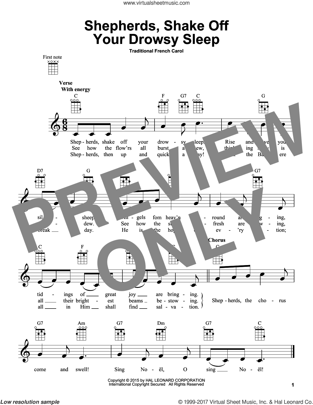 Shepherds, Shake Off Your Drowsy Sleep sheet music for ukulele. Score Image Preview.