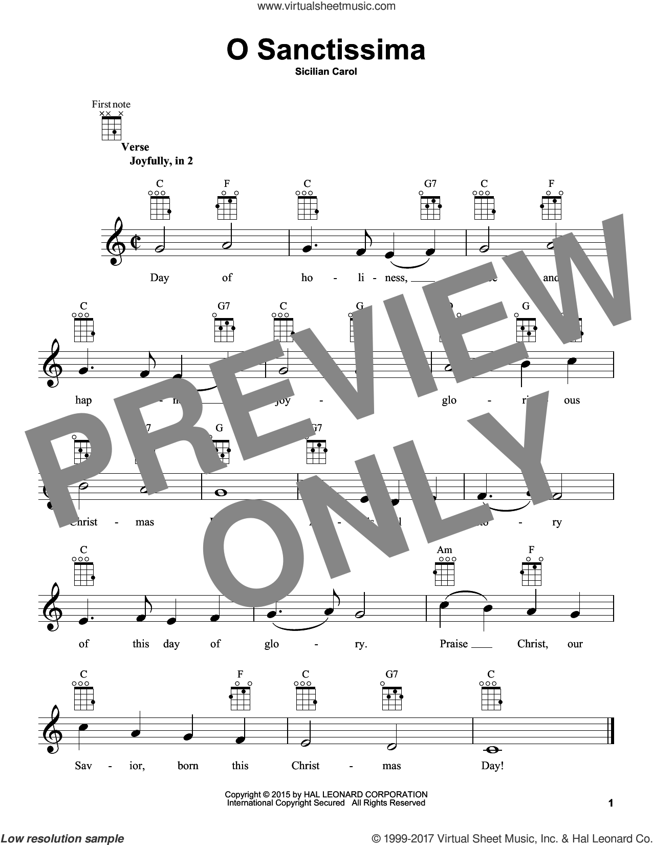 O Sanctissima sheet music for ukulele, intermediate. Score Image Preview.